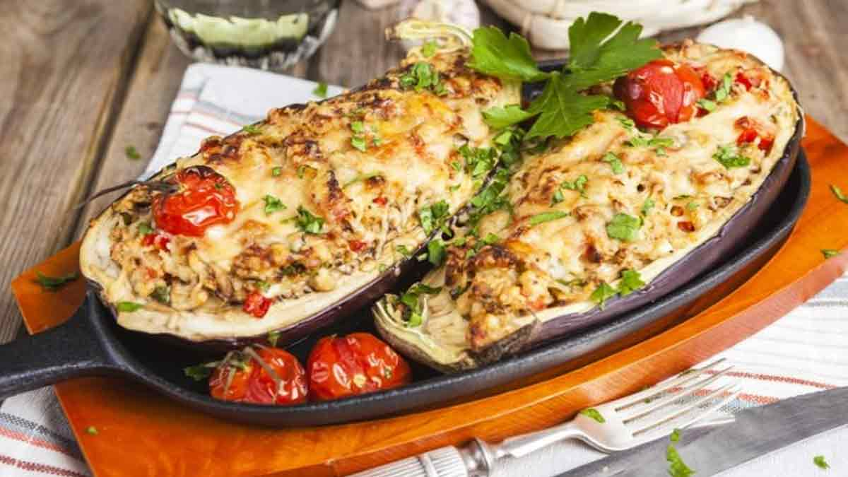 Appétissantes aubergines farcies à la mozzarella
