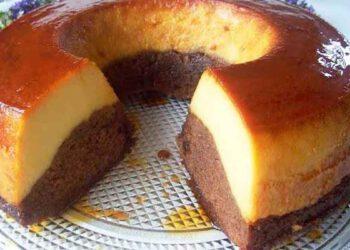 Gâteau de semoule au caramel et chocolat