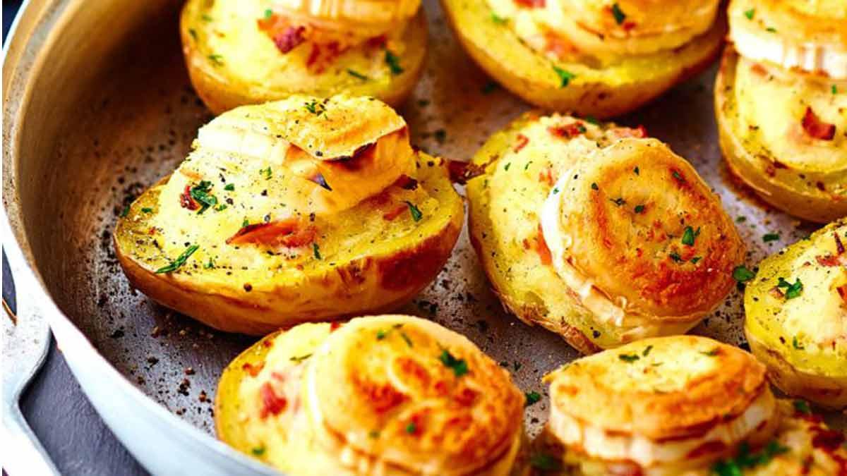 Simplissimes pommes de terre farcies au chèvre-jambon