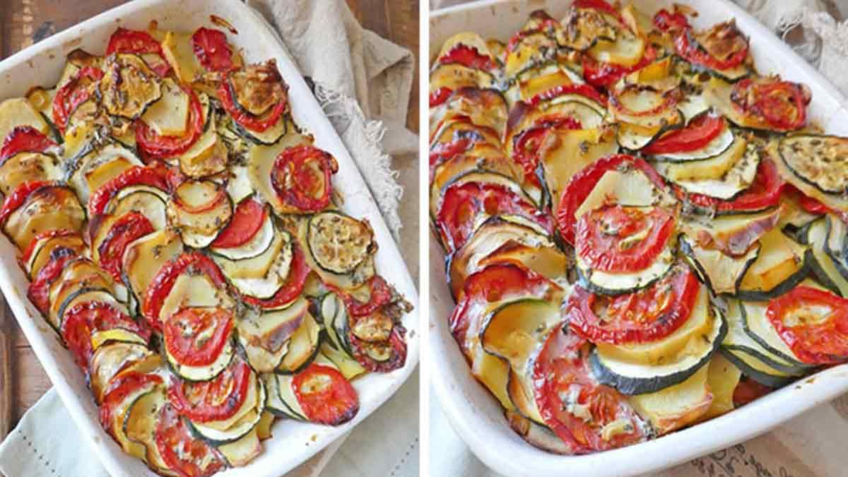 gratin estival aux pommes de terre-tomates-courgettes