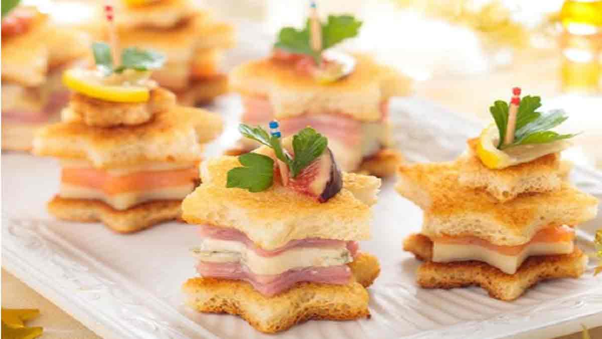 Appétissantes tapas au saumon-parmesan-jambon