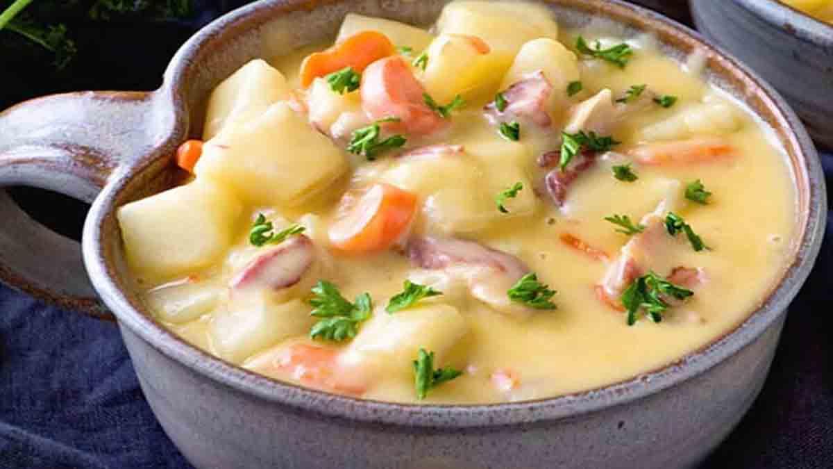 Onctueuse soupe crémeuse bacon-patate