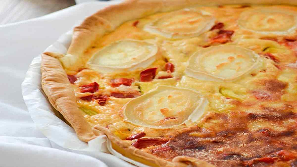 Succulente tarte aux courgettes et poivrons