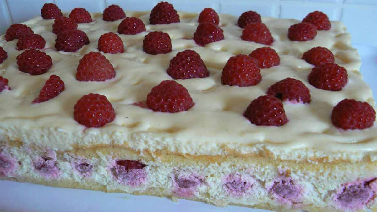 gâteau crème tiramisu-framboises