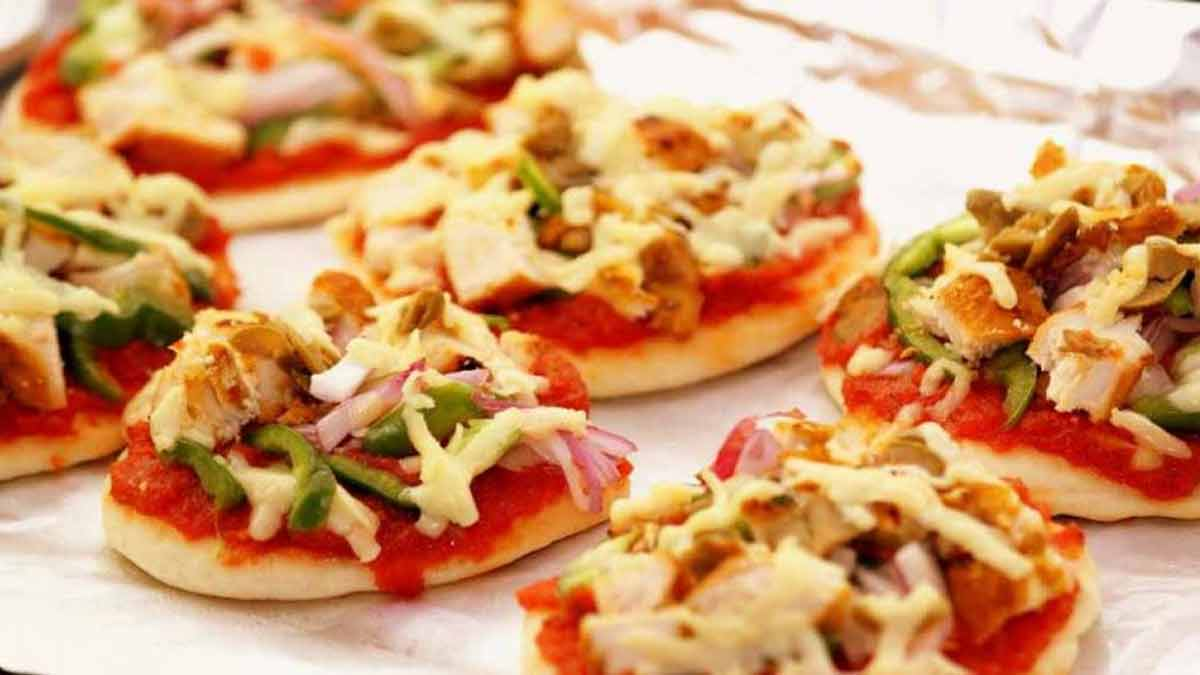 bouchées de pizzas chorizo et champignons