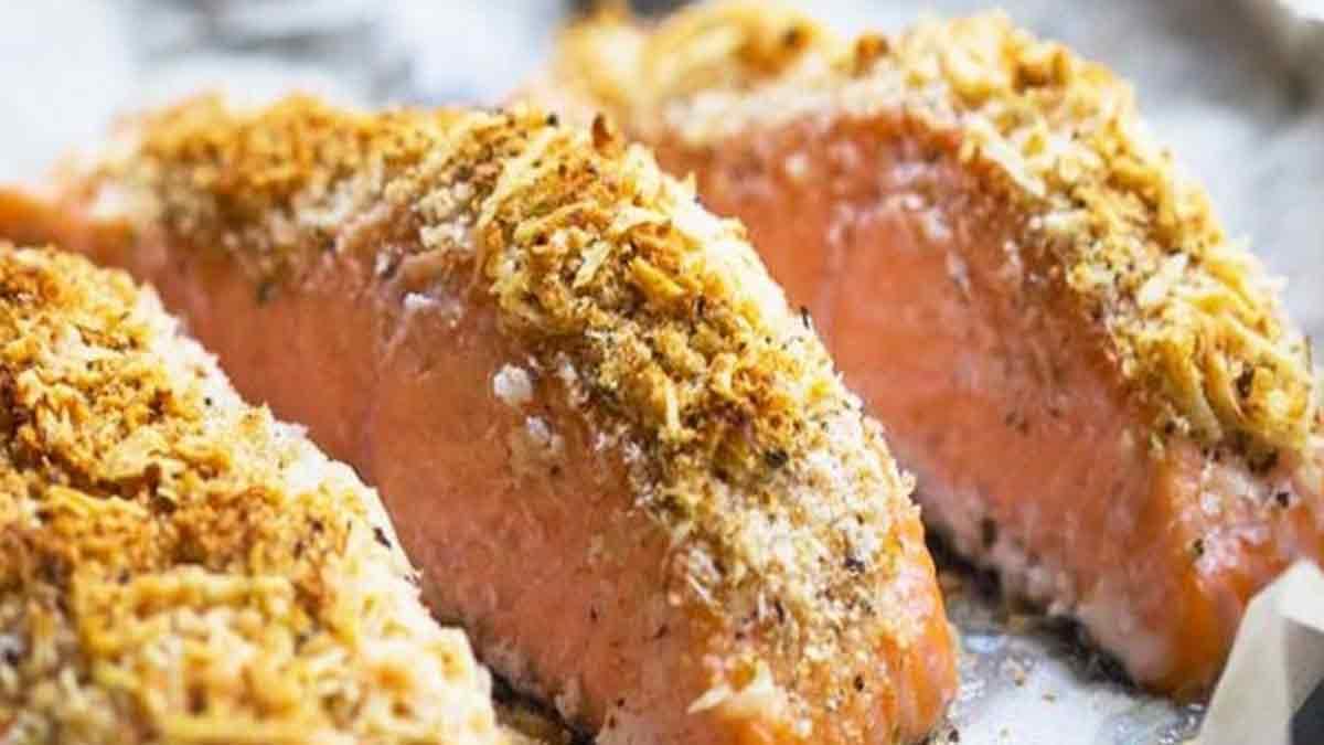 pavés de saumon au parmesan et aux noisettes