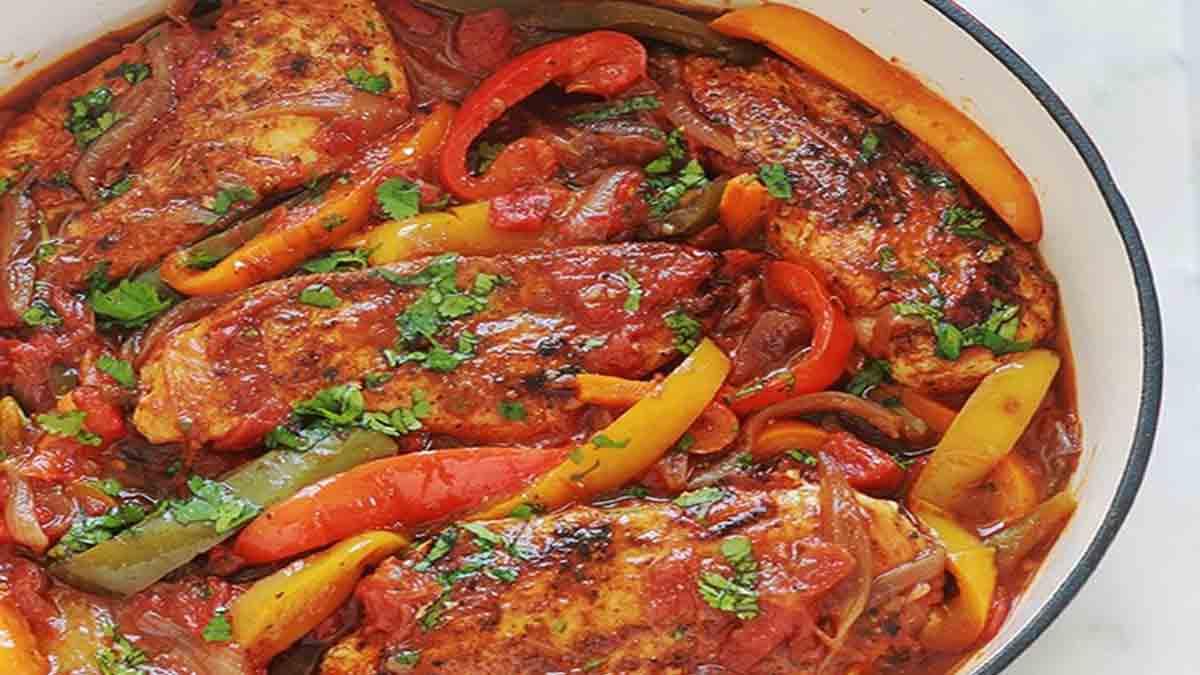 poulet aux poivrons oignons et tomates