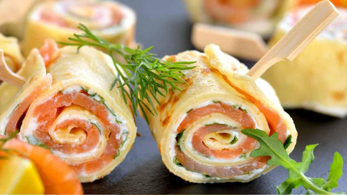 roulés classiques au saumon et fromage