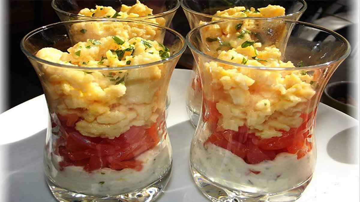 verrines de crème ciboulette-saumon