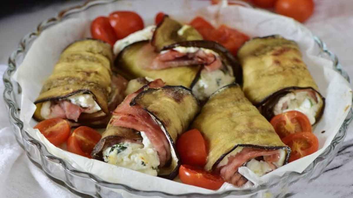 Aubergines roulées farcies à la ricotta et jambon cuit