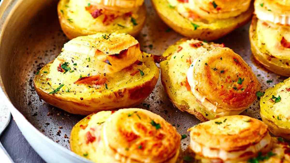 Délicieuses pommes de terre farcies chèvre-jambon