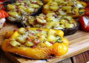 Légumes farcis aux pommes de terre et jambon