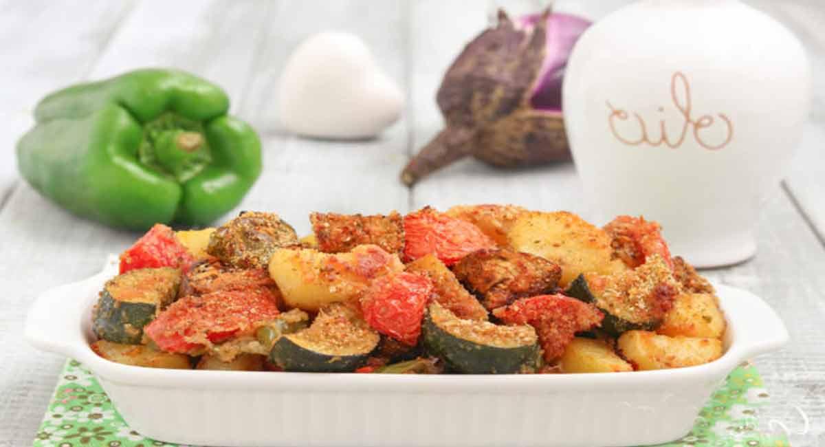 Légumes marinés gratinés au four