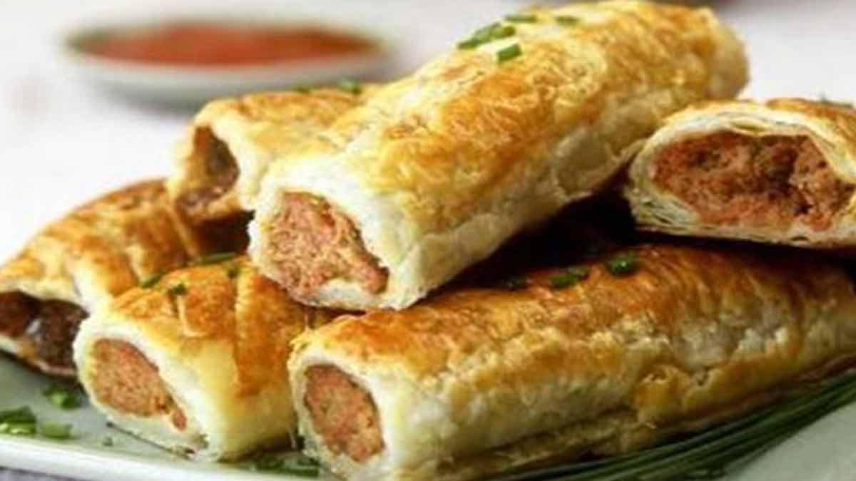 Roulés de pâte feuilletée farcis à la viande hachée