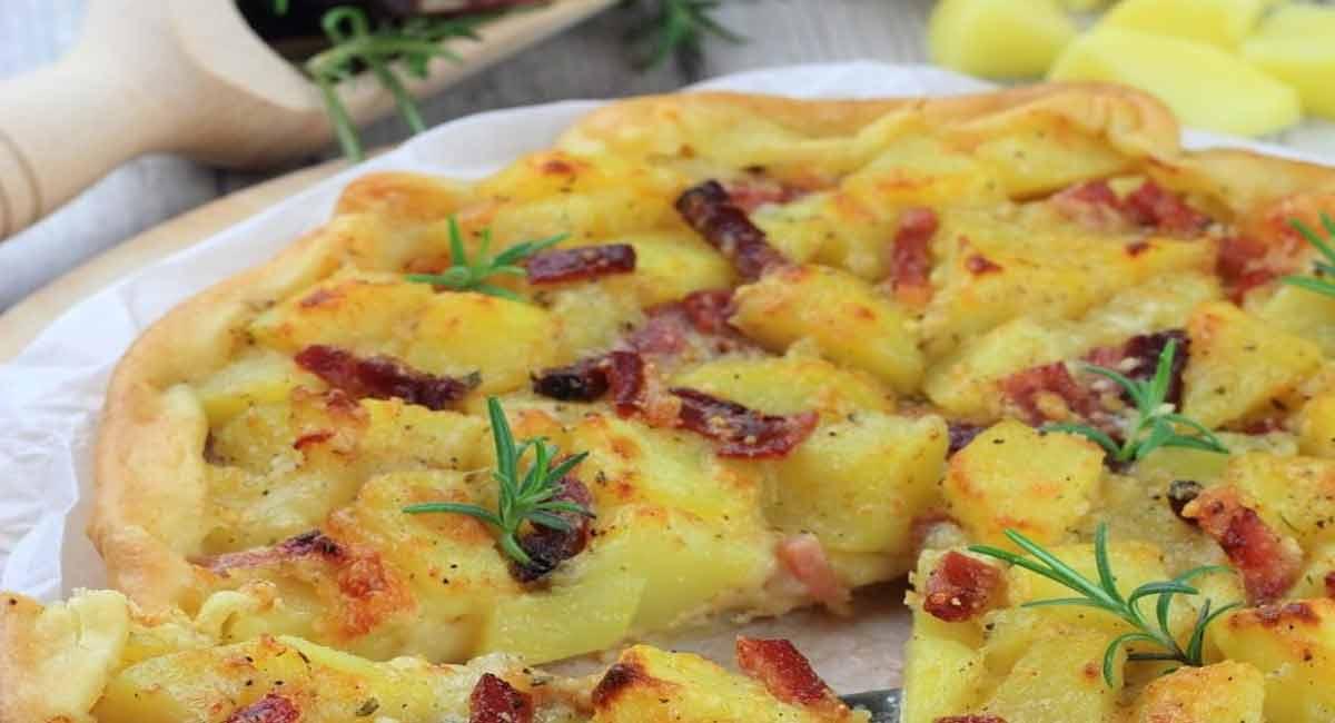Tarte salée aux pommes de terre et jambon