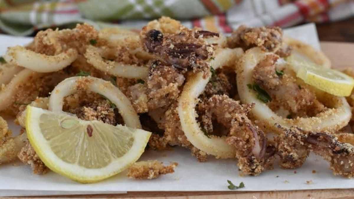 calamars et crevettes frits au four