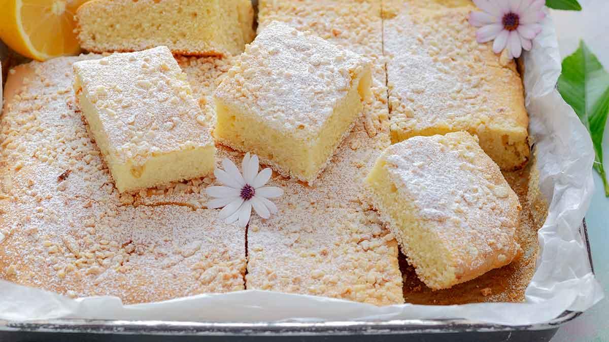 carré au citron et amandes-pignons pin