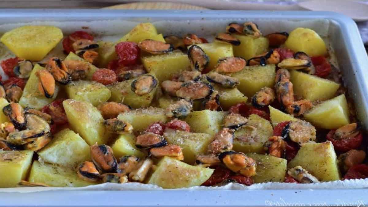 pommes de terre et moules gratinées au four