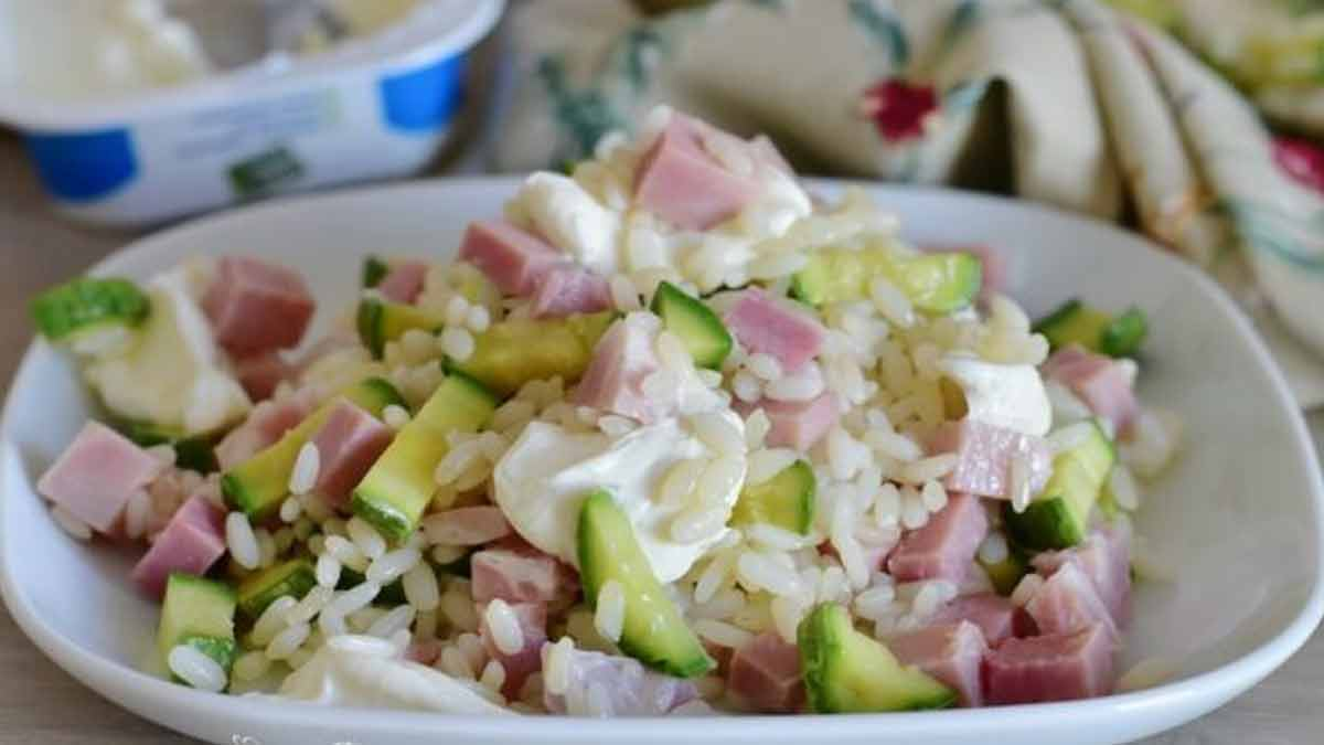 salade de riz aux courgettes et jambon