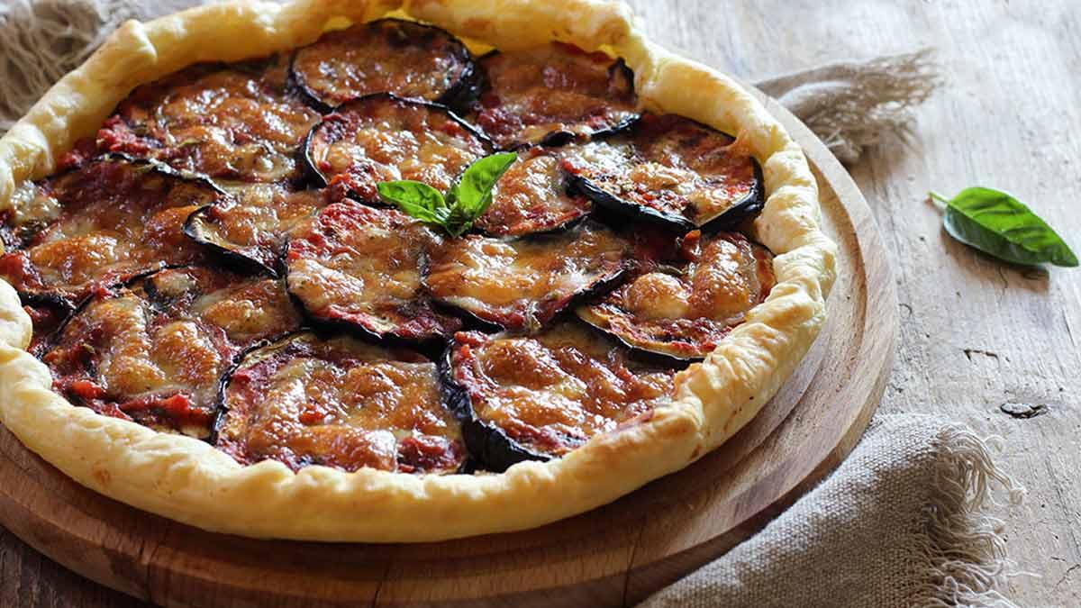 tarte salée aux aubergines-mozzarella