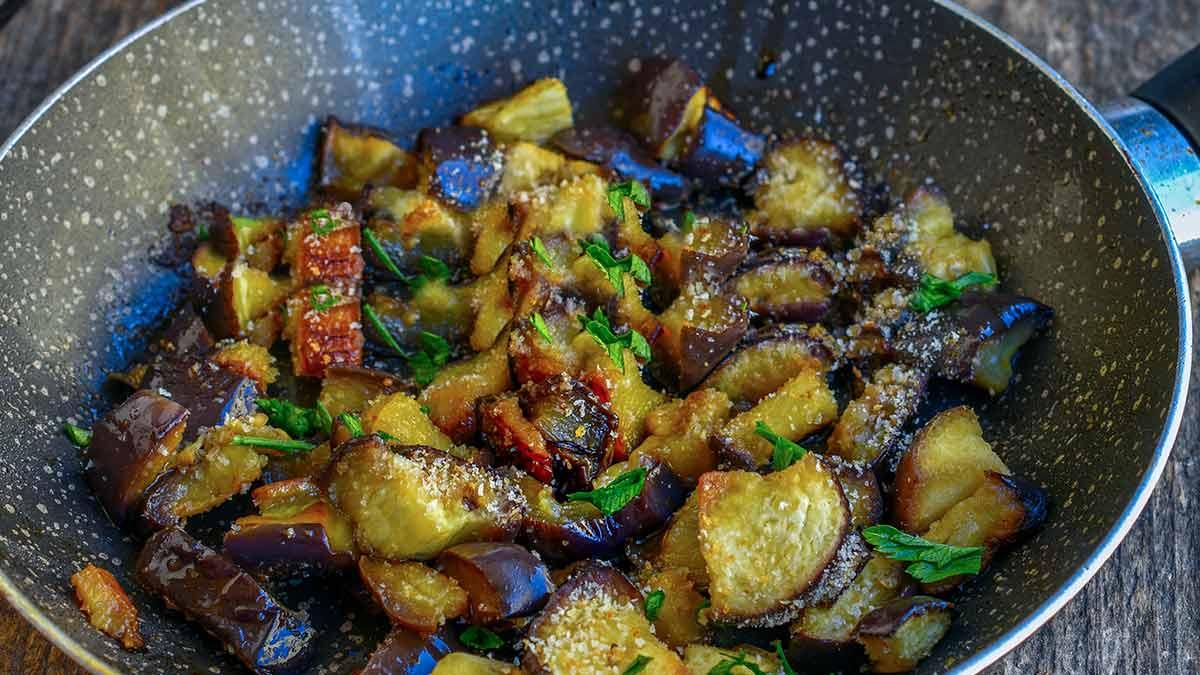 aubergines avec chapelure poêlées