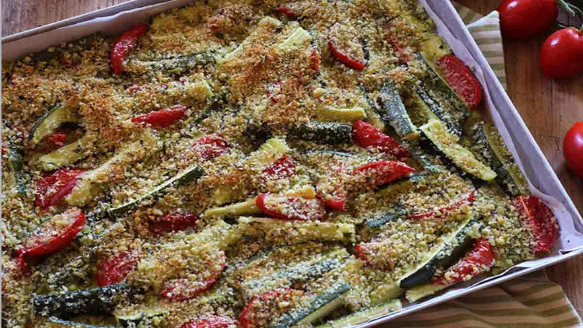 courgettes et tomates cerises grillées