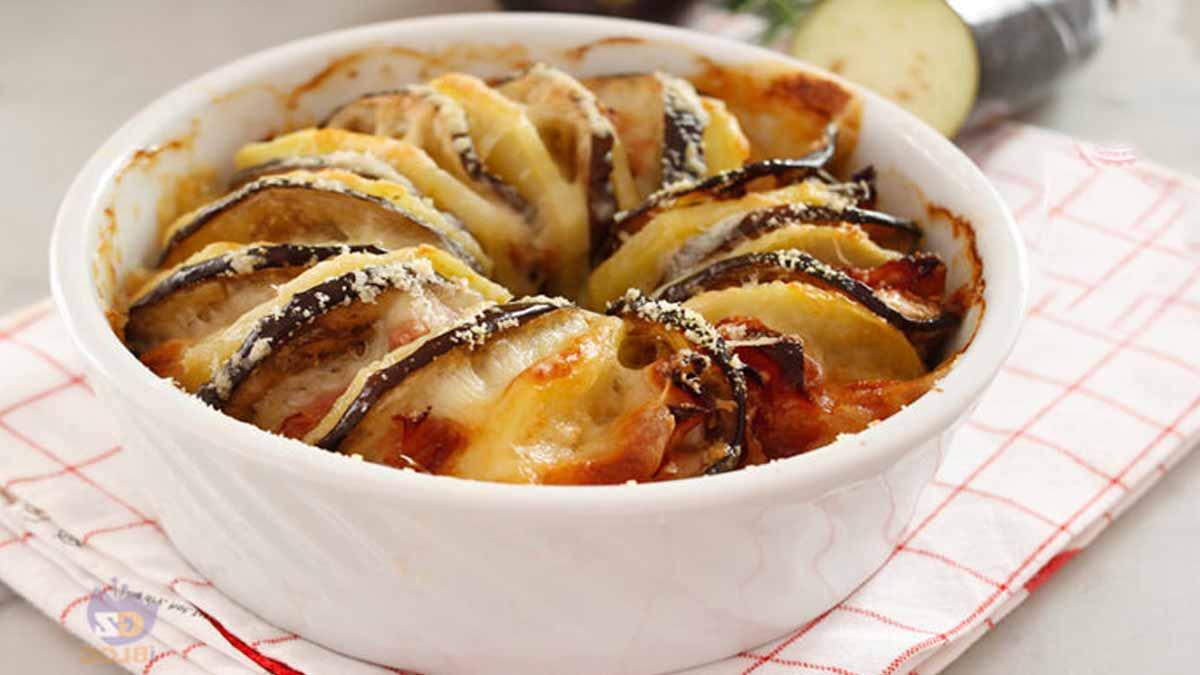 gratin de pommes de terre et d'aubergines