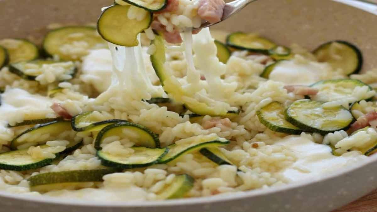risotto à la mozzarella et courgette au jambon