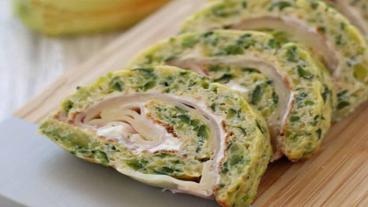 rouleaux de d'omelette aux courgettes farcies