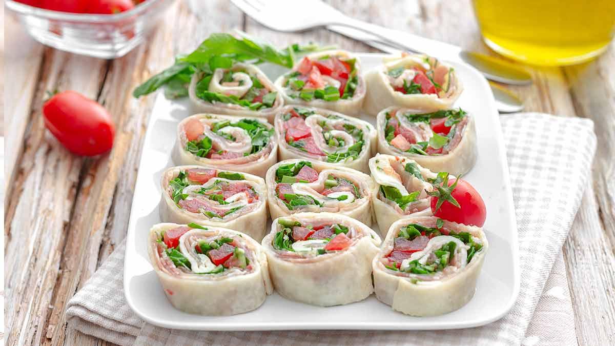 rouleaux de mozzarella-jambon et tomate