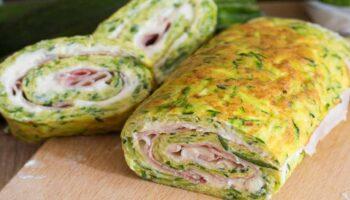 rouleaux d'omelette aux courgettes farcies