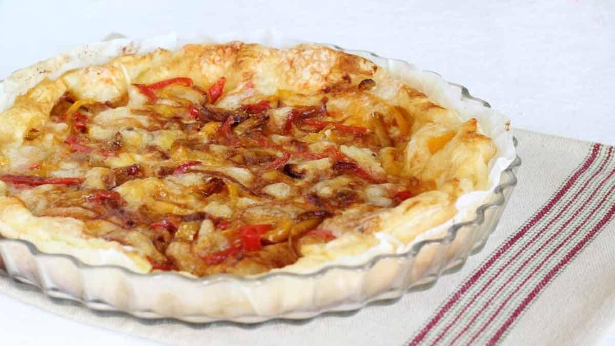tarte salée aux poivrons et aux fromages