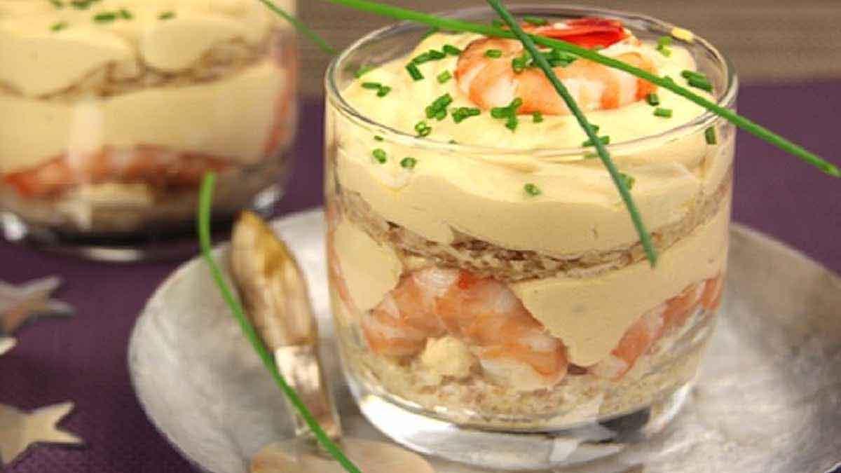 Irrésistible tiramisu en verrines aux crevettes