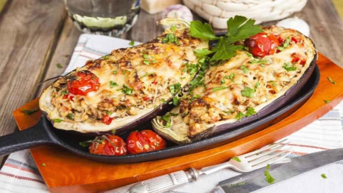 aubergines farcies à la mozzarella et tomates