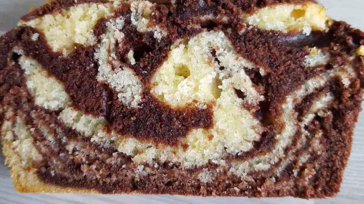 cake marbré au cacao et à la vanille