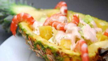 cocktail d'ananas aux crevettes