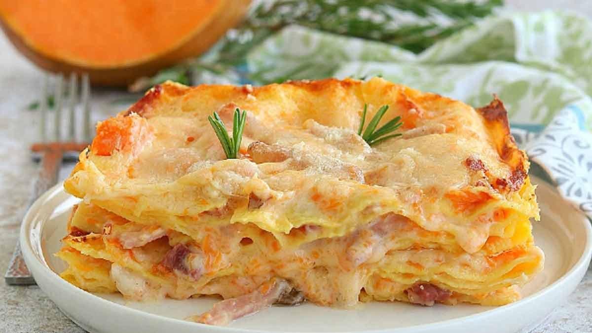 lasagnes à la crème de citrouille et jambon