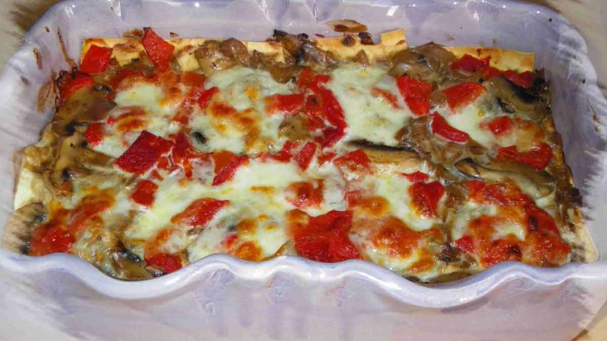 lasagnes aux champignons et à la mozzarella