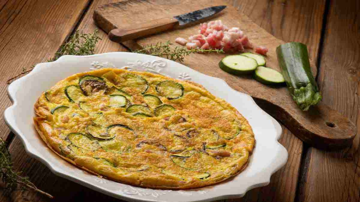 omelettes aux lardons et courgettes frites