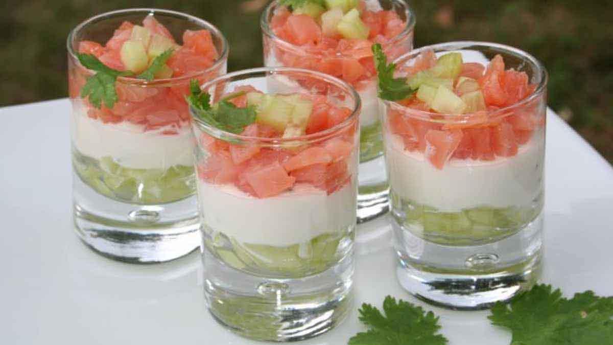 Verrines de concombre au fromage blanc