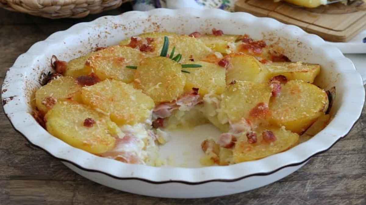 pommes de terre au jambon et mozzarella